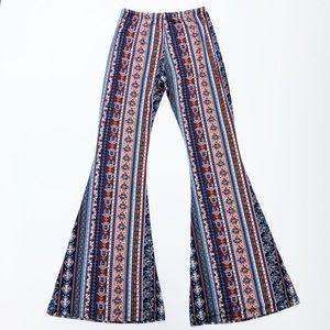 Boho Festival High Waisted Hamsa Print Flare Pants